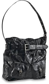 Black Snakeskin Black Diaper Bag