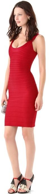 Herve leger Signature Essentials Scoop Neck Dress