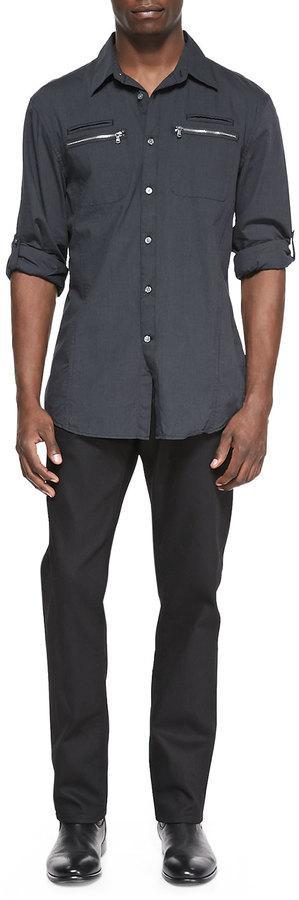 John Varvatos Star USA Double-Pocket Button-Down Shirt, Dark Gray