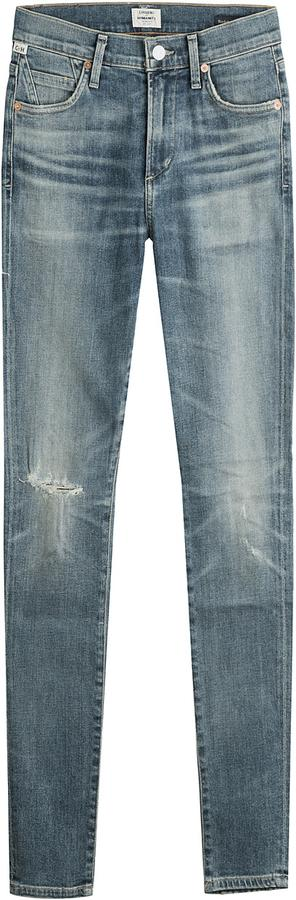 Citizens of Humanity Distressed Ankle-Length Slim Jeans