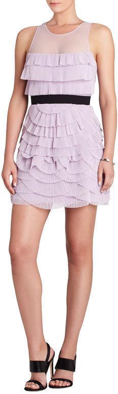 BCBGMAXAZRIA Karyna Sleeveless Pleated Tiered Dress