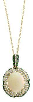 Final Call Diamond, Opal, Tsavorite and 14k Yellow Gold Pendant Necklace