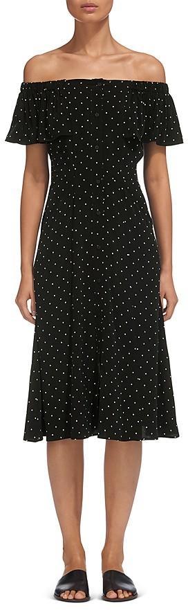 Whistles Off-the-Shoulder Polka Dot Dress