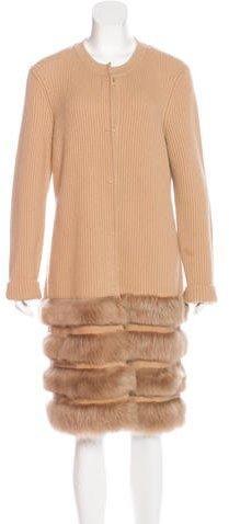 Escada Wool & Cashmere-blend Fur Cardigan