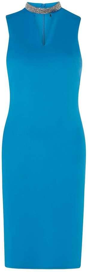 Turquoise Embellished Neck Shift Dress