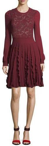 Valentino Virgin Wool Pleated Dress with Lace
