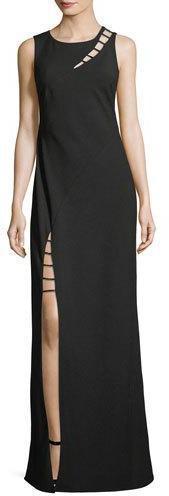 ZAC Zac Posen Sasha Sleeveless Strappy-Cutout Column Evening Gown