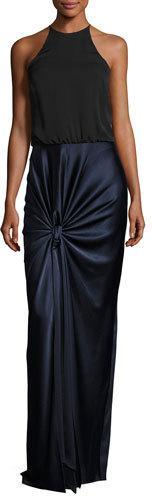 Halston Heritage Sleeveless High-Neck Mixed-Media Twist-Drape Evening Gown