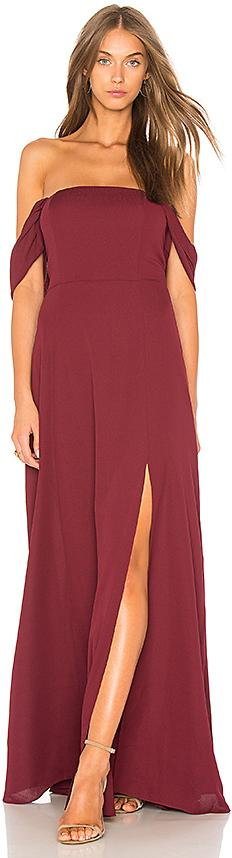 J.O.A. Front Slit Off The Shoulder Maxi Dress In Maroon in Burgundy
