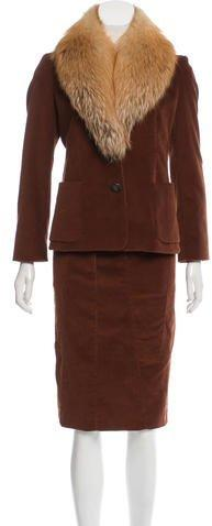 Derek Lam Fox Fur-Trimmed Corduroy Skirt Suit w/ Tags