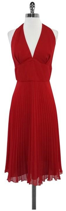 ABS Red Halter Pleated Dress Midi Dress