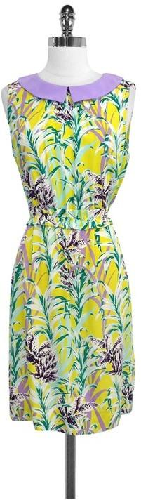 Kate Spade Yellow & Purple Botanical Print Silk Blend Dress