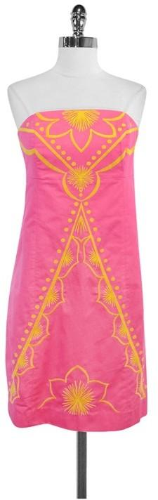 Lilly Pulitzer Pink & Yellow Embroidered Cotton Strapless Dress