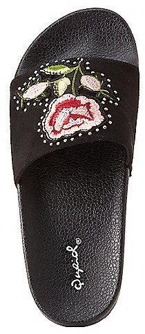 Qupid Floral Patch Slide Sandals