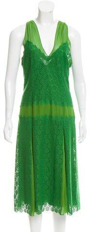 DKNY Lace-Accented Silk Dress