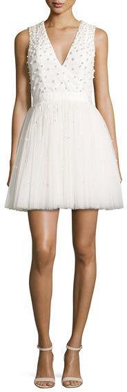 Alice + Olivia Shanda Embellished Party Dress, Cream