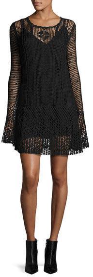 McQ Alexander McQueen Long-Sleeve Macrame Mini Dress, Darkest Black