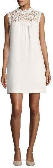 Theory Aronella Elevate Crepe Lace-Yoke Dress, White