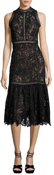 Rebecca Taylor Arella Sleeveless Lace Midi Dress, Black