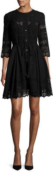 Theory Kalsingas Vintage Eyelet Cotton Dress, Black