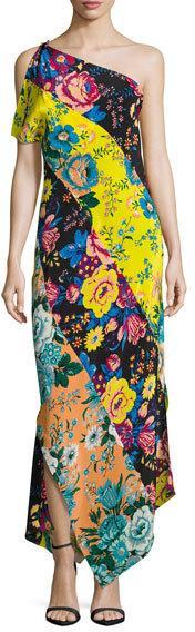 Diane von Furstenberg One-Shoulder Asymmetric Hem Dress, Black Pattern