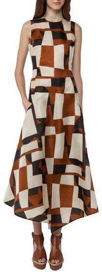 Akris Venetian-Print Organza Midi Dress, Brown/White