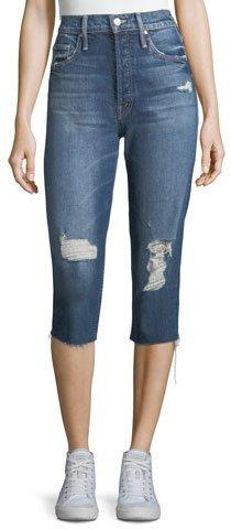 Mother Denim Tomcat High-Waist Distressed Knickers