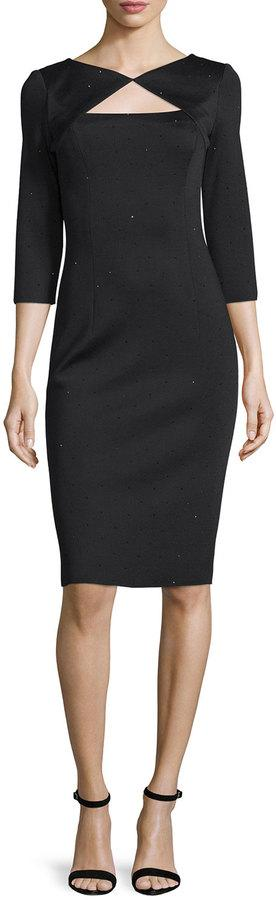 St. John Collection Sequined Knit 3/4-Sleeve Dress, Caviar