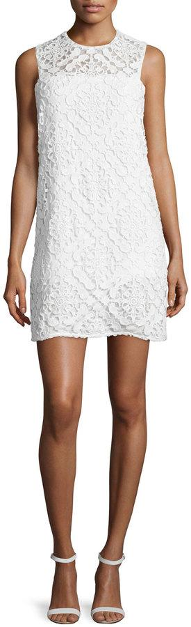 Shoshanna Sleeveless Jewel-Neck Lace Dress, Off White