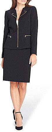 Tahari ASL Zipper Front Crepe Skirt Suit