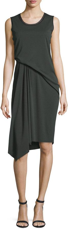 Elie Tahari Isolde Sleeveless Draped Dress, Camouflage