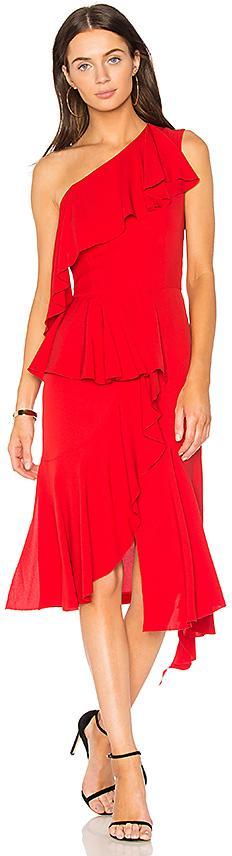 GOEN.J One Shoulder Asymmetrical Dress in Red