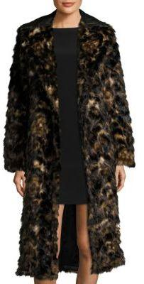 Helmut Lang Tortoise Jacquard Faux Fur Coat