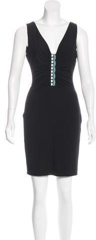 Versace Ruched Sleeveless Dress