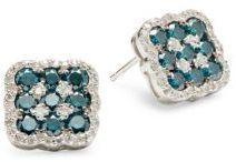 Diamond, Blue Diamond & 14K White Gold Earrings