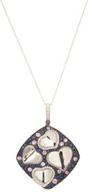 14k White Gold Sapphire And Diamond Movable Heart Necklace