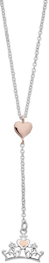 Disney Princess Silver Plated Heart Crown Pendant Necklace