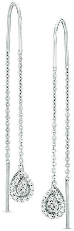 1/5 CT. T.W. Diamond Teardrop Threader Earrings in Sterling Silver