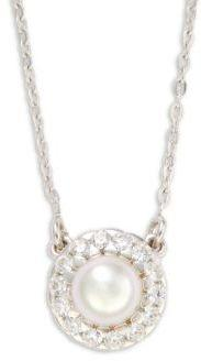 6MM White Pearl & Sterling Silver Halo Pendant Necklace