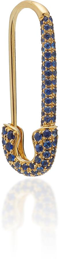 Anita Ko Safety Pin Earring with Blue Sapphire