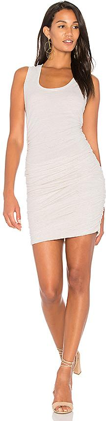 Lanston Ruched Tank Dress in Beige. - size L (also in M,S,XS)