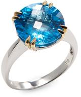 14K Two-Tone Gold Blue Topaz Ring