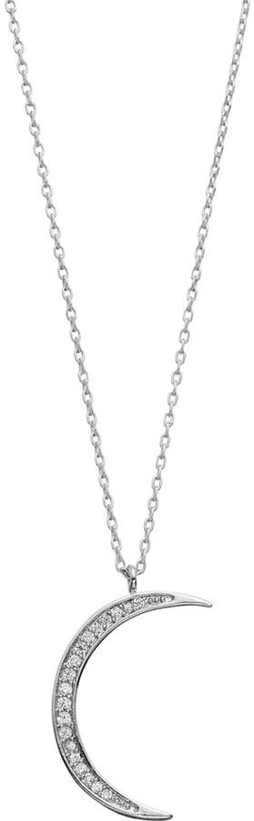 LC Lauren Conrad Runway Collection Cubic Zirconia Crescent Moon Pendant Necklace