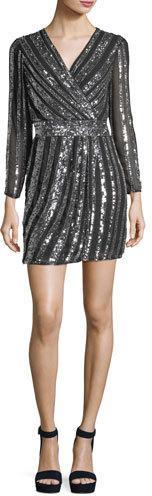 Parker Black Kelsey Striped Sequin Cocktail Dress