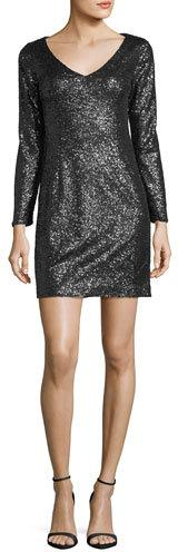JAY X JAYGODFREY Alexis Long-Sleeve V-Neck Sequin Cocktail Dress