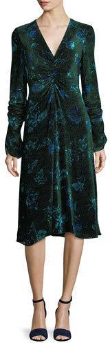 Prabal Gurung Shirred Floral Velvet Dress
