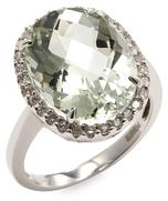 14K White Gold Diamond and Green Amethyst Ring