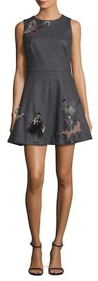 Wool Embroidered Fit And Flare Dress
