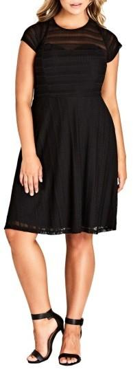 Plus Size Women's City Chic Textured Heart Dress