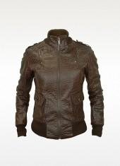 Forzieri Signature - Women's Dark Brown Croco Stamped Genuine Leather Jacket